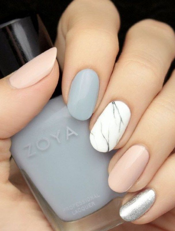 Beautiful Pastel Colors Marble Nails For Winter 2016 Fashion Te