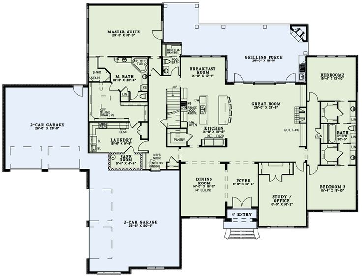 like the master closet attached to laundry First Floor Plan of House Plan 82234