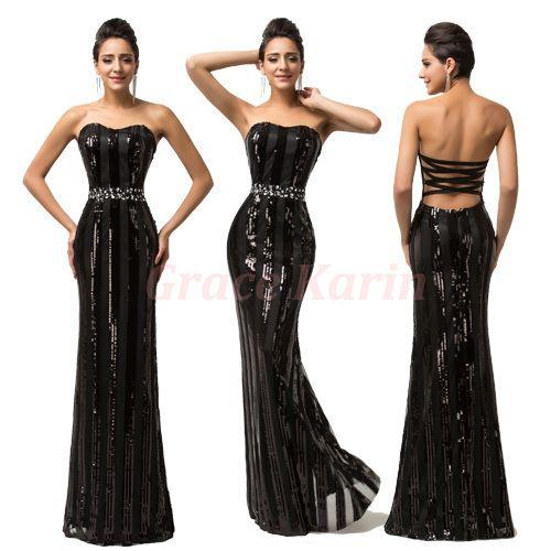 Сексуальная спинки длинные черные русалка пром платья 2016 тонкий блестки элегантные вечерние платья грейс карин vestido феста 7591