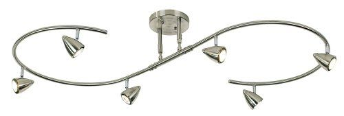 """Clean, cool and contemporary, this eye-catching, """"s"""" shaped bar track light kit provides instant glamour and visual appeal. It comes in a crisp brushed steel finish and features six lights, each of which is fully adjustable. Line voltage. Brushed steel finish. S-shaped track. Fully adjustable lights. With six halogen lights. Includes with six 50 watt GU10 halogen bulbs. 54"""" long, 21 1/2"""" wide. Extends from 6 1/2"""" to 14"""" from the ceiling. Canopy is 6 1/2"""" wi..."""