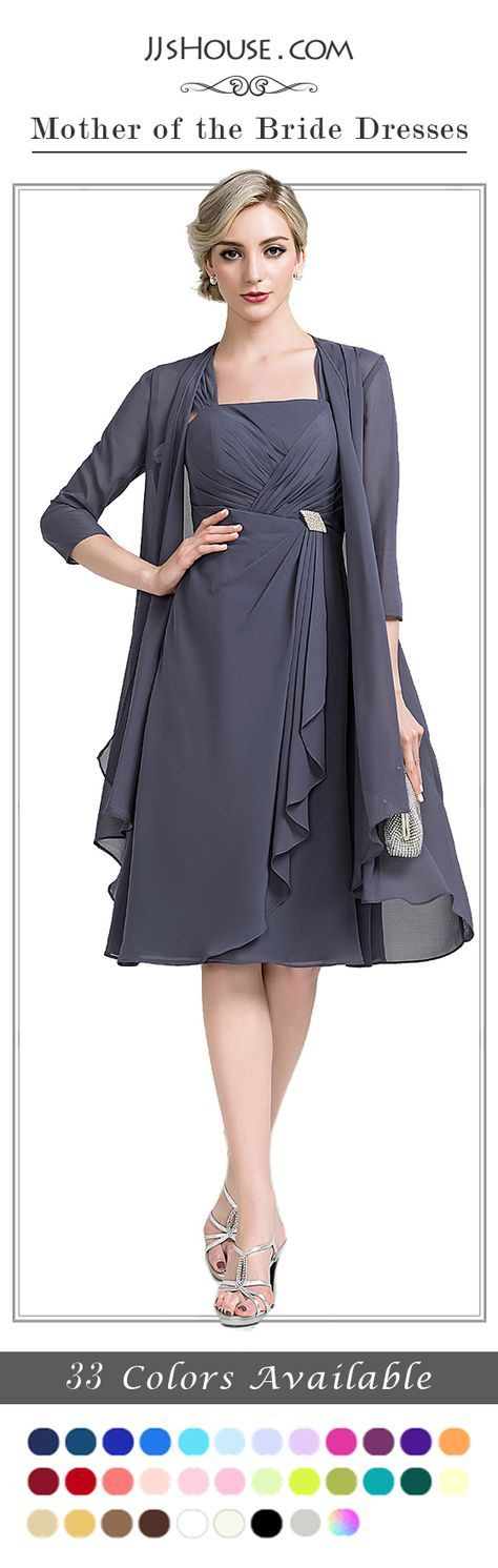 This A-Line/Princess Square Neckline Knee-Length Chiffon Mother of the Bride Dress really sells well. #JJsHouse