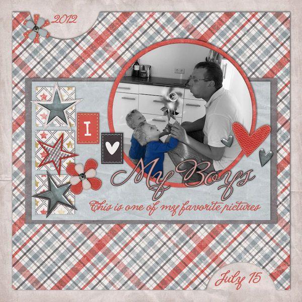 I love my boys     credits:  That's my boy {kit} + {alpha} by Trixie Scraps Designs and Template from Trixie Scraps blog (challenge freebie).  La Portentia de la Boca {font}