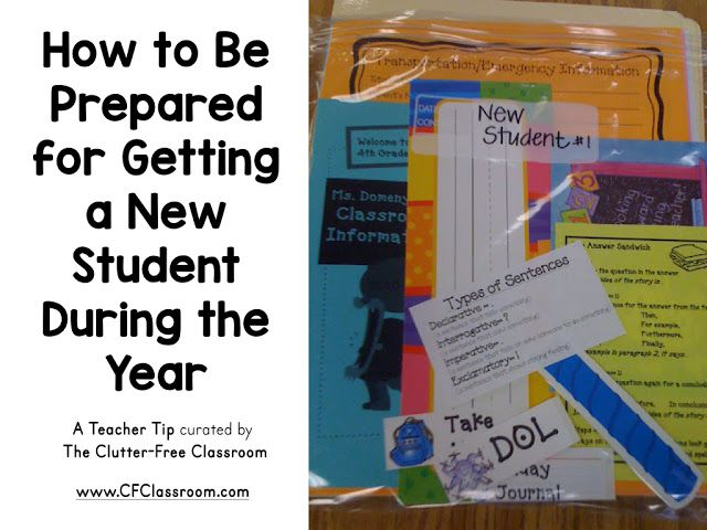 New students join the class when teachers least expect it. This blog post from the Clutter-Free Classroom shows teachers a simple way to always be ready for a new student's arrival.