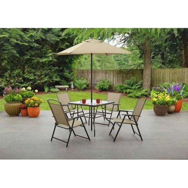 5 Piece Patio Set With Umbrella Metal Folding Chairs Glass Table