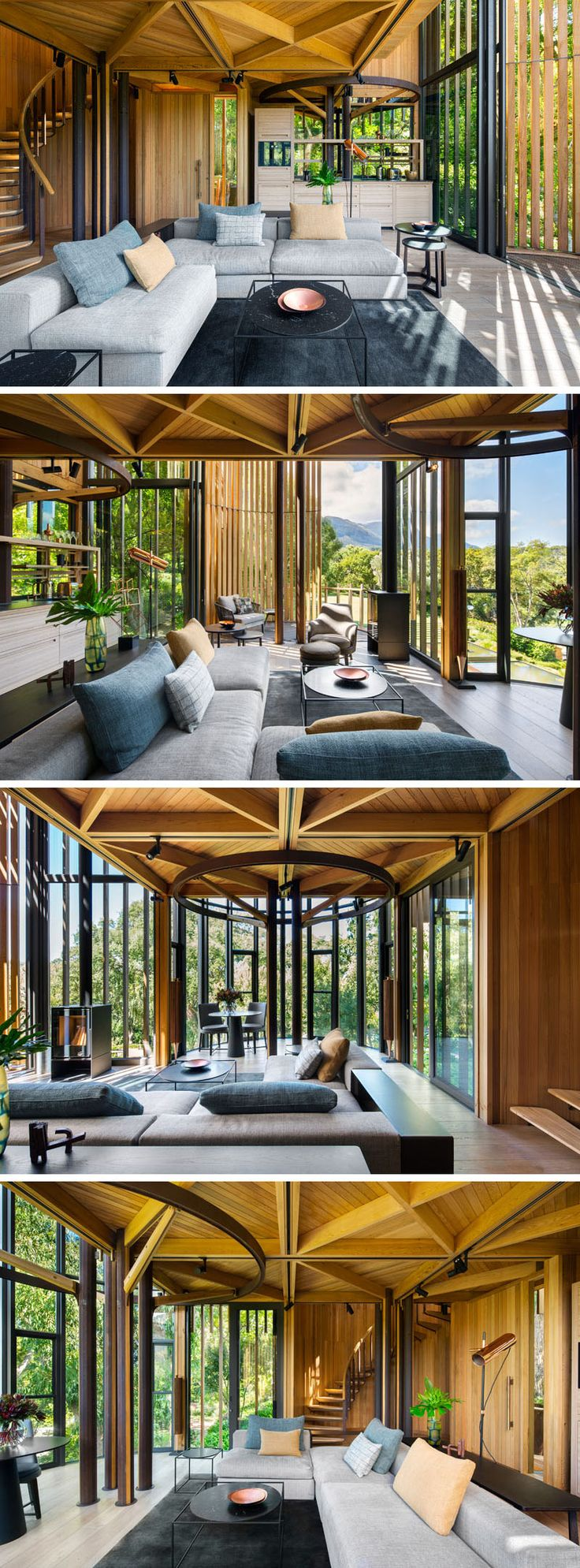 Interior design for first home - The First Floor Of This Modern Tree House Is Home To The Living Room That Opens