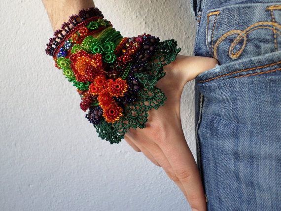 beaded freeform crochet cuff  bracelet by irregularexpressions