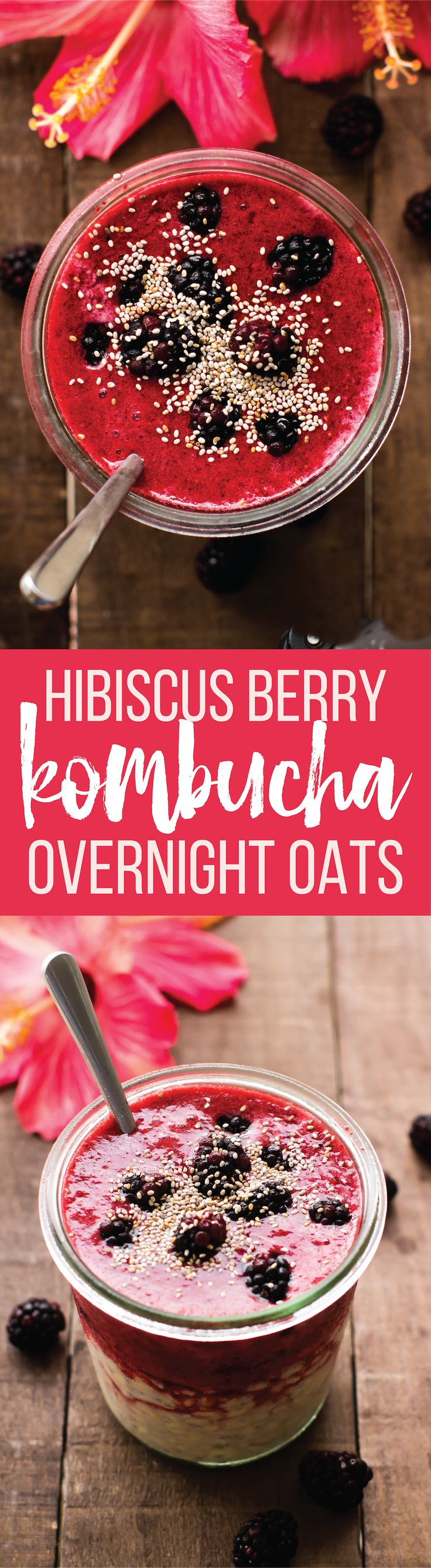 Berry Kombucha Overnight Oats. A healthy breakfast that delivers fruit, fiber, and probiotics all in one jar!