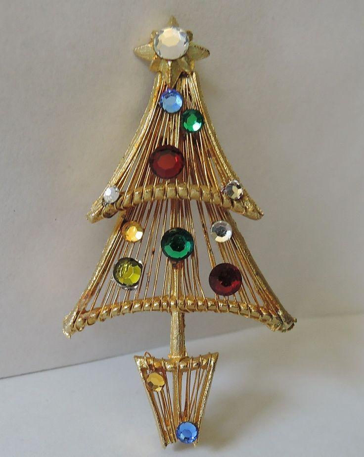 Vendome Wired Swarovski Crystal Christmas Tree Pin ~ RARE Book Piece