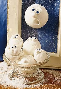 Snowball faces. Have made these for years now. The kids love doing them. They make great ornaments if you insert a wire with ribbon in the top before they dry.