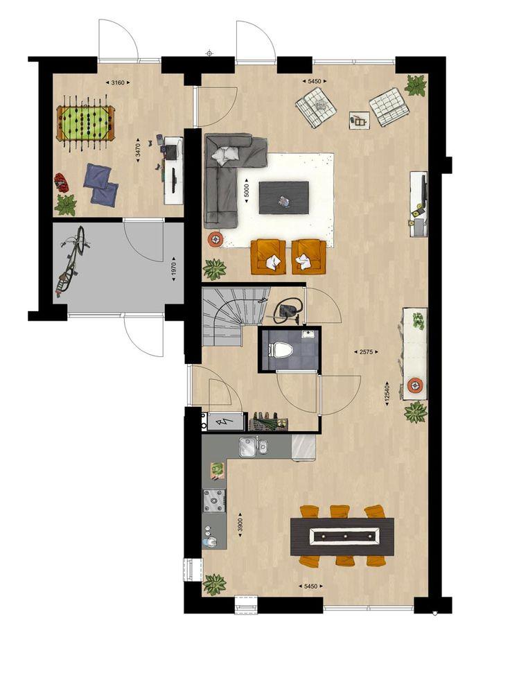Plattegrond grote l vormige woonkamer interieur meubilair idee n - Kamer indeling ...