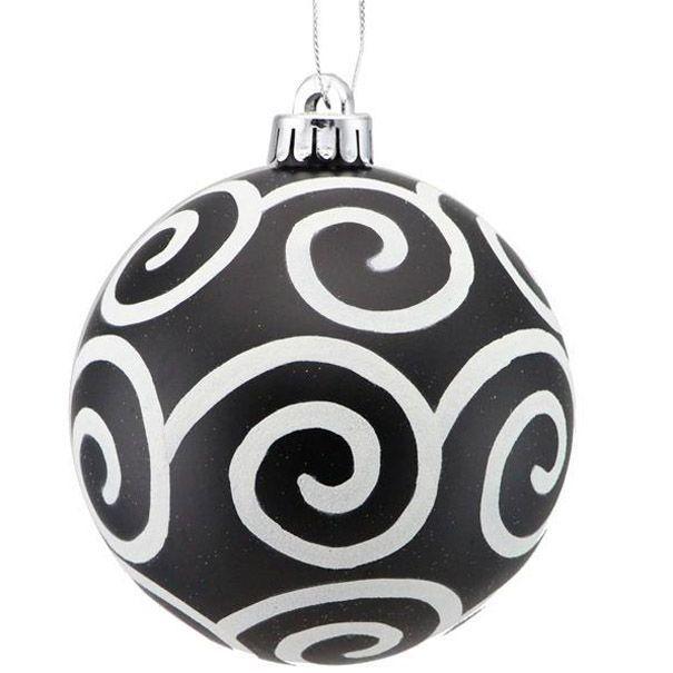Glittered Scroll Swirl Ball Ornament Size 4 75 Color Matte Black White Material Plastic Black Christmas Trees Ornaments Ball Ornaments