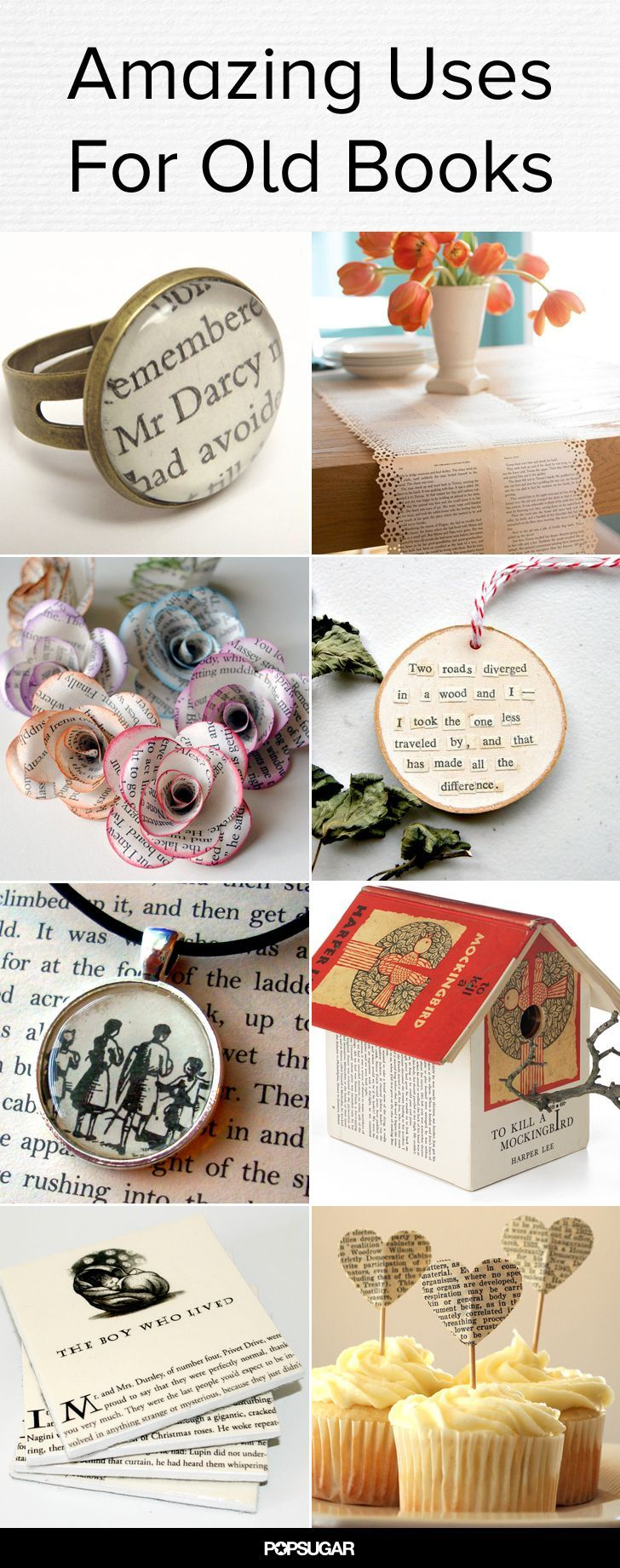 Upcycle your old books into lovely decor and jewelry!