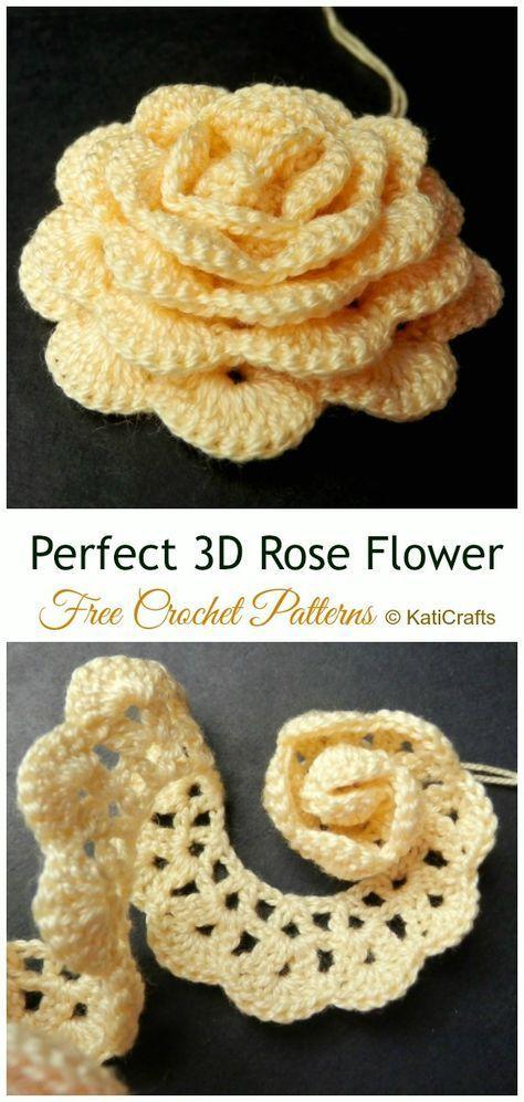 Perfect 3D Rose Flower Crochet Gratisanleitung – #Crochet; 3D #Rose; Blumen Kostenlose