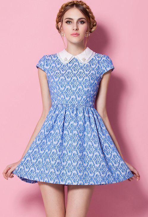 Blue Lapel Short Sleeve Floral Pleated #Dress - #Sheinside