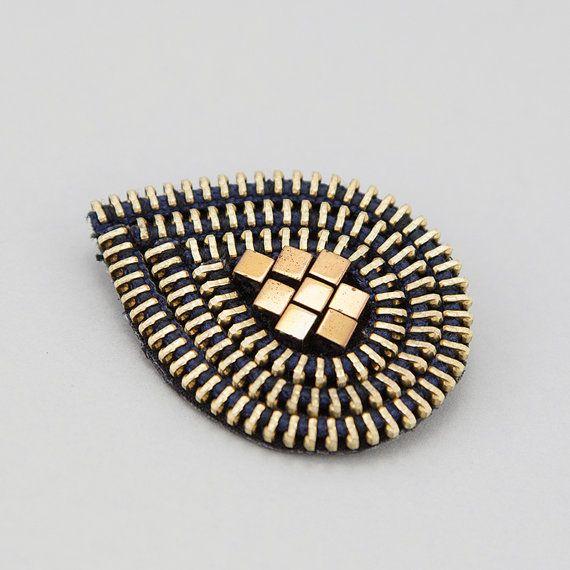 Zipper Brooch with haematite