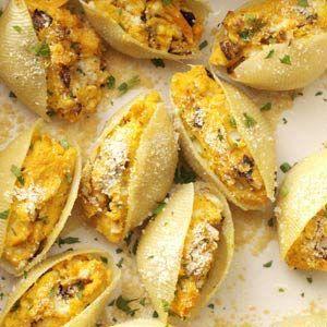 Sweet potato and caramelized onion stuffed shells.