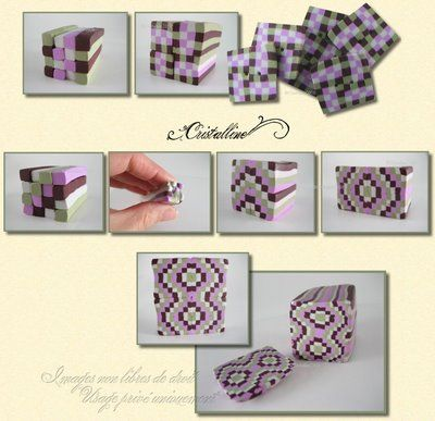 Cristalline fimo, tuto et bijoux en polymère: Tuto canne Ecossais version 3 et 4