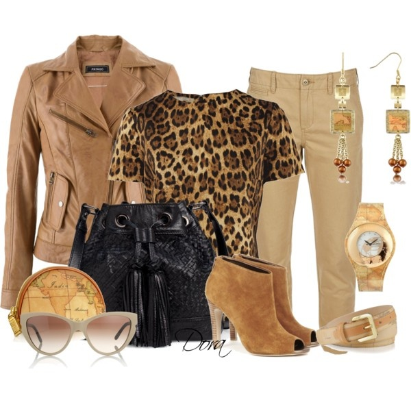 """Top leopardato"" by doradabrowska on Polyvore"