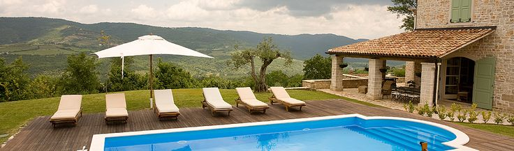 View of the pool at Casa Bella, Luxury Villa to Rent in Istria, Croatia.