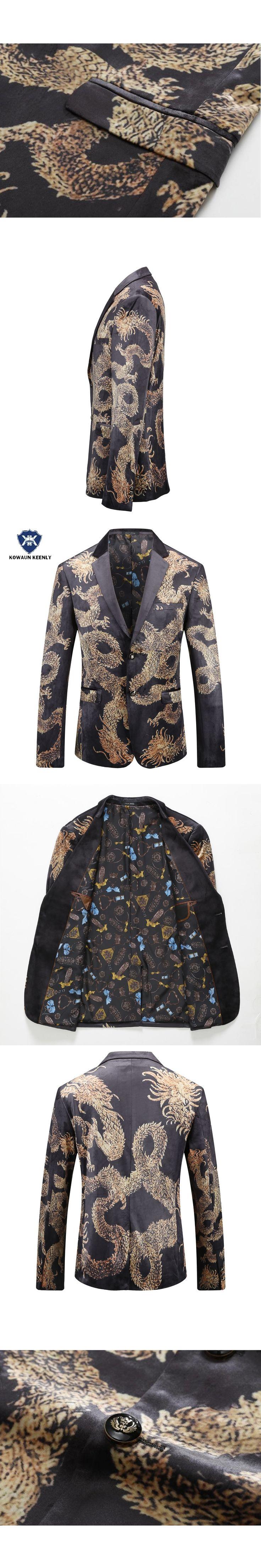 2017 Autumn Black Gold Blazer For Men Chinese style Printed Blazer Men Slim Fit Velvet Suit Jacket Mens Stage Wear Male Singer