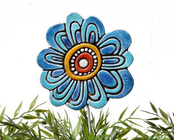 Flower garden art - plant stake - garden marker - garden decor - flower ornament - ceramic flower - hibiscus - turquoise on Etsy, $27.09