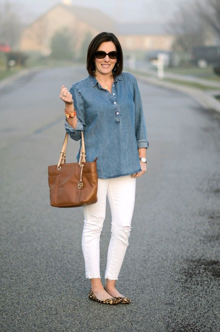 Spring Outfit Inspo: Chambray & White with Leopard Flats