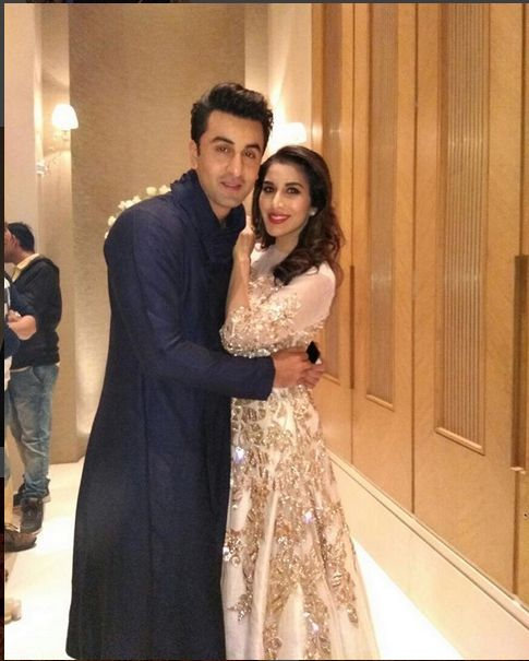 Sophie Choudry With Ranbir Kapoor In An Embroidered Top With Lehenga Skirt ,Designed By Manish