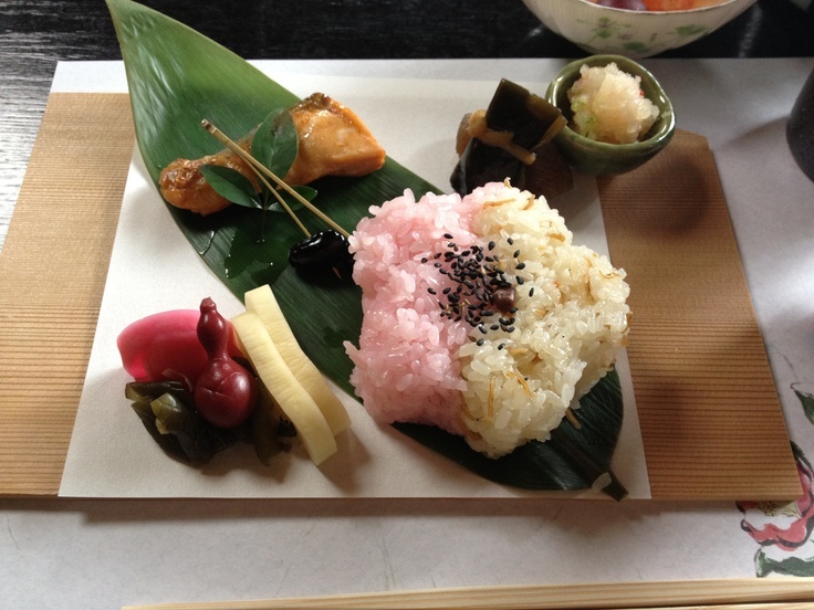 Small spring lunch plate in Kyoto  Plum flower shaped sticky rice, grilled salmon and Japanese picles,