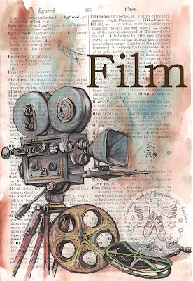 Film (Movie) Mixed Media Drawing on Distressed, Dictionary Page