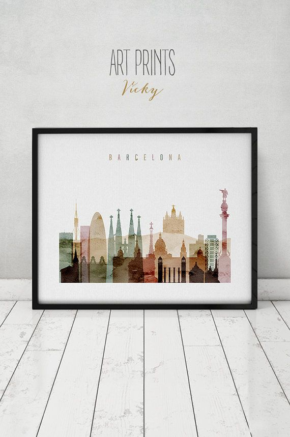 Barcelona art print, watercolor poster, Wall art, Barcelona skyline, cities poster, Barcelona Spain print, digital watercolor ArtPrintsVicky.