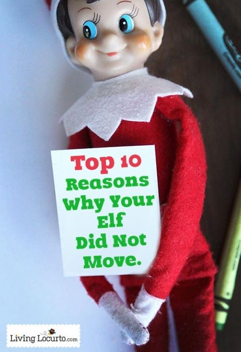 Top 10 Reasons Why Your Elf on the Shelf Did Not Move. Great List for Kids and Parents to Read! LivingLocurto.com