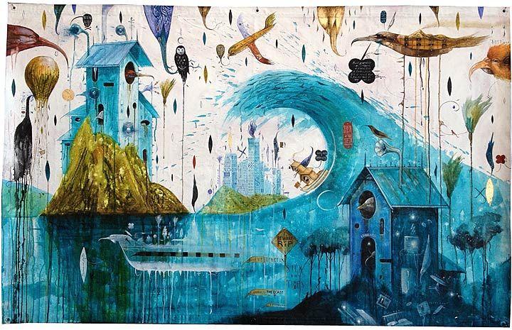 Dean Raybould nz surrealist artist, birds and environmental art, blue colours