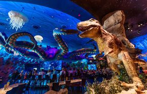 T-Rex Cafe is a dinosaur-themed table servicerestaurant in Downtown Disneyat Walt Disney World that is aimed primarily at families with small children. I