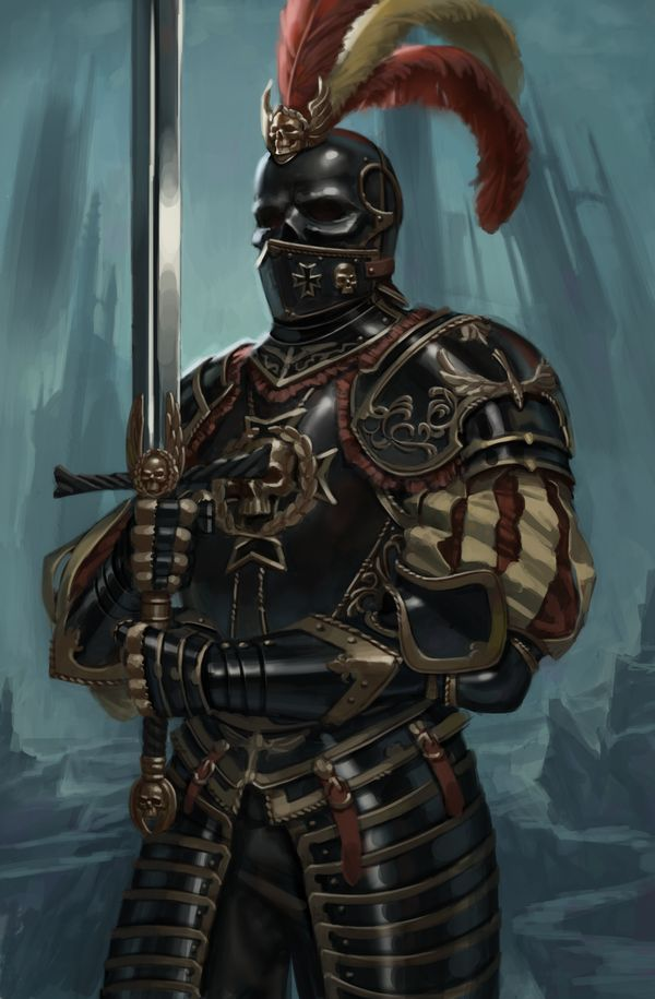 Knightly order of the Empire from Warhammer Fantasy.  Devoted to the god of the dead, they are usually deployed during crusades against the Vampire Counts.