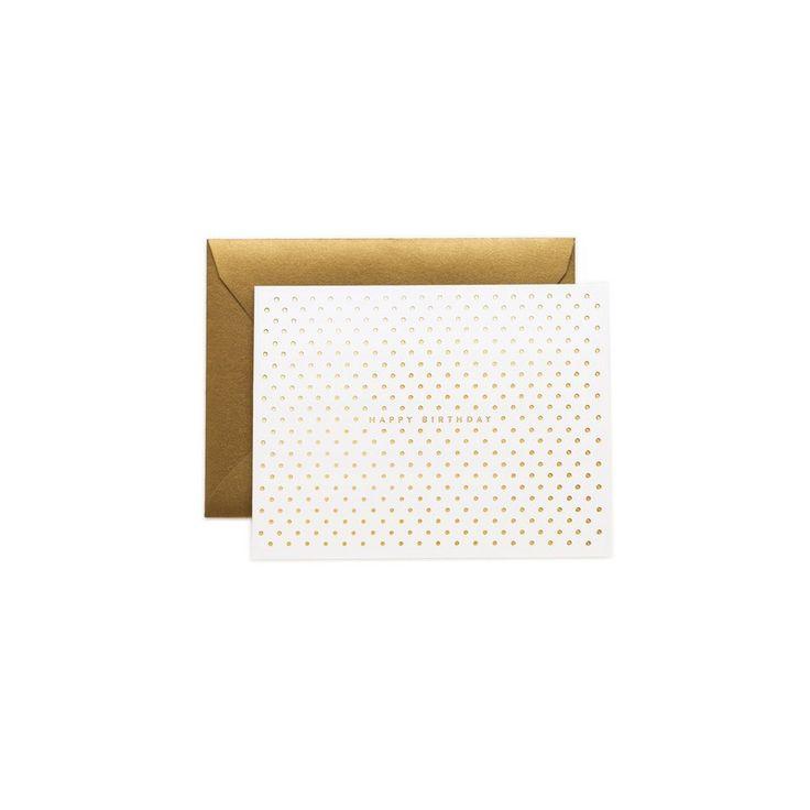 Jolie carte d'anniversaire pour femme. Carte double blanche à pois dorés + enveloppe assortie. Achat sécurisé. Livraison 48h ou retrait gratuit.