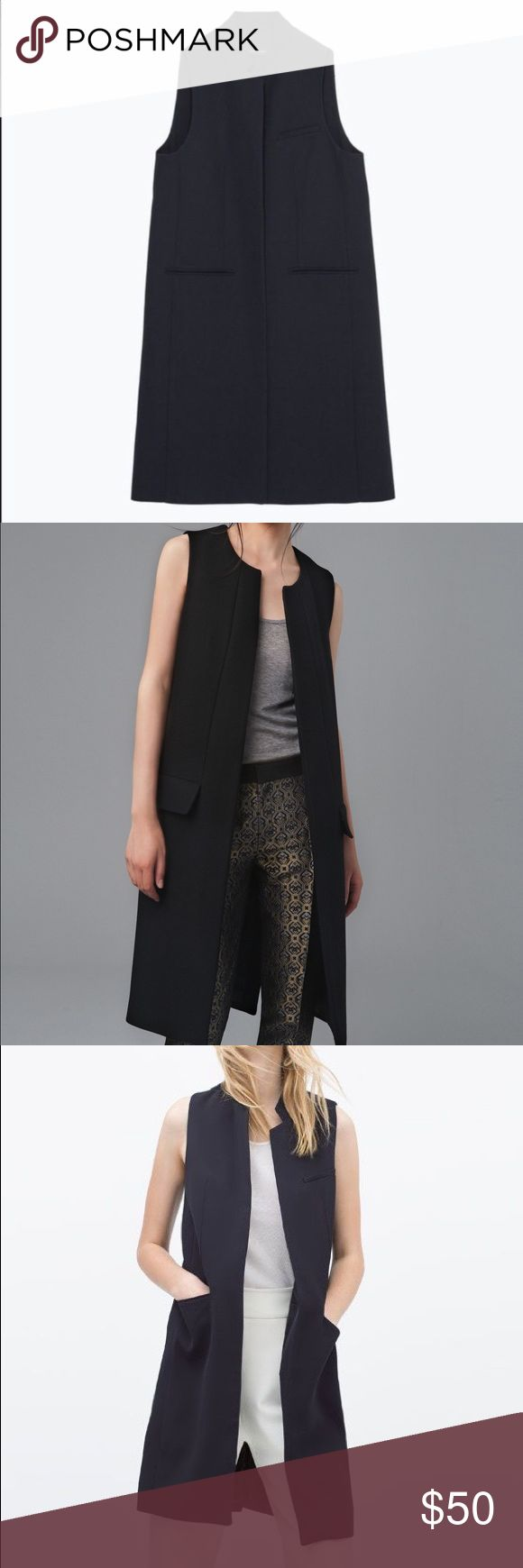 Zara black waistcoat Gently worn, black waistcoat. More like for fall, warm. Open to offers. Can be worn by s and m size Zara Jackets & Coats