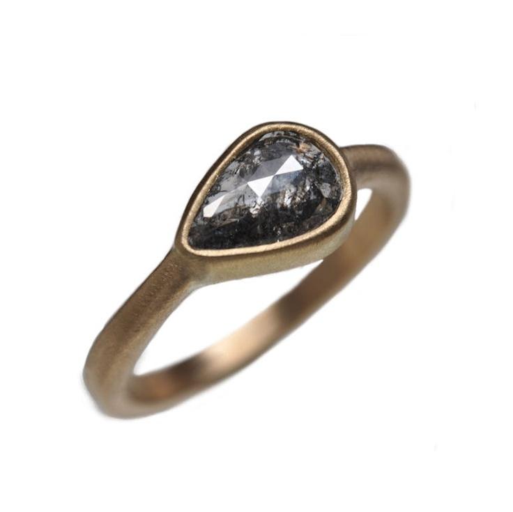Natural black rose cut diamond ring  - 18k gold. $1,200.00, via Etsy.