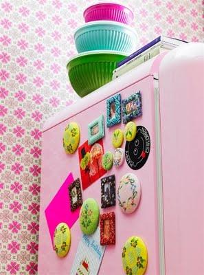 Gorgeous fridge!Pink Fridge, Decor Ideas, Rice, Magnets, Colors, Pink Kitchens, Crosses Stitches, Kitsch Kitchens, Retro Kitchens