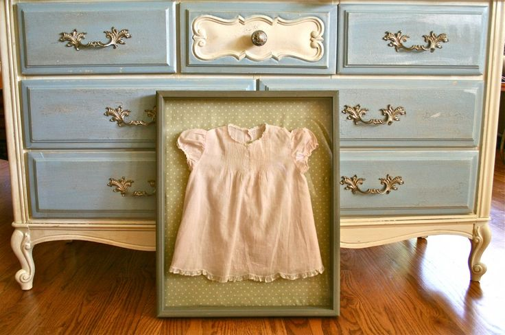 Vintage baby dress in shadow box