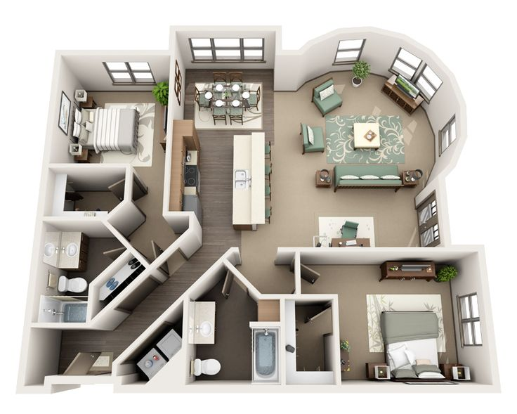 """ Roundhouse: two-bedroom apartment floorplan, oregon "" I like it but the little coves that u walk through for the bedrooms seems like wasted space."