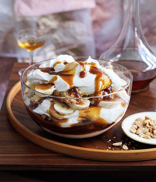 Australian Gourmet Traveller recipe for banana, brandy and butterscotch trifle.