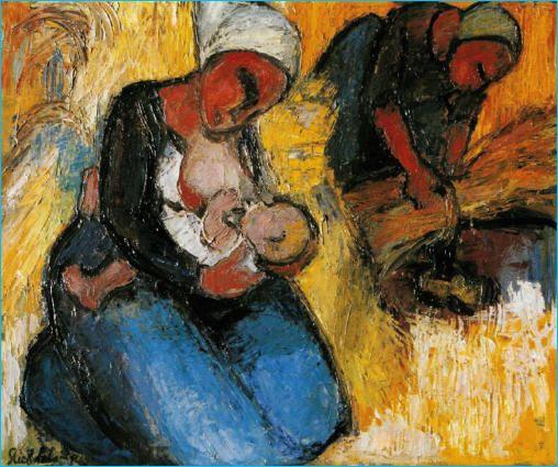 Stien Eelsingh ,1903-1964, Dutch painter ~ Voeden tijdens de oogst ~
