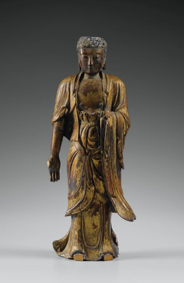 A SMALL LACQUER-GILT WOOD FIGURE OF BUDDHA, MING DYNASTY.