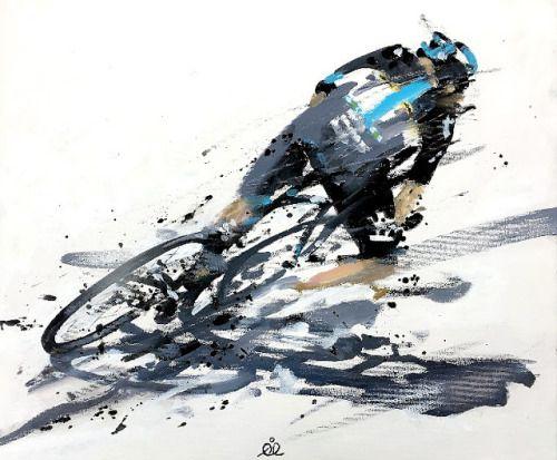 Chris Froome's en el descenso de Col de Peyresourde. Ilustración de la mano de Rob Ijbema.