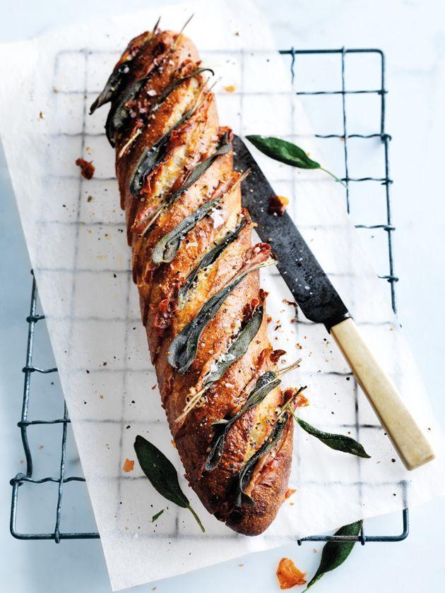 prosciutto + sage garlic bread//