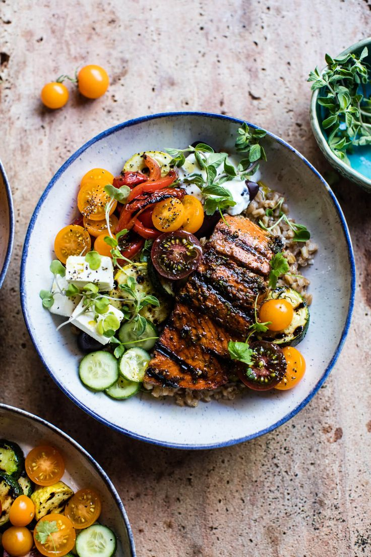 Salmon Souvlaki Bowls - these bowls are super healthy, crazy fast, and insanely delicious! From halfbakedharvest.com