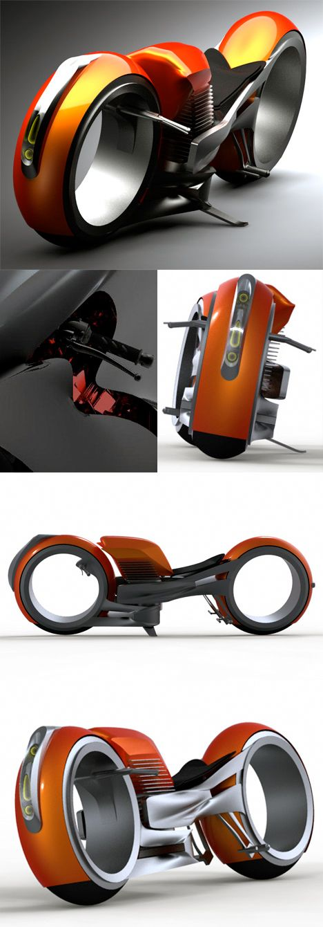 ✤ Harley Davidson Circa 2020 by Designer Miguel Cotto pays homage to the big road hogs by keeping the large 883cc engine, complete with high revs and roars. The similarities end there. The design is almost tron-like in execution. Check out the wheel hubs. They're actually giant bearings. I do see glimpses of Harley DNA in the center chassis but seriously, can you image any road warriors riding this?