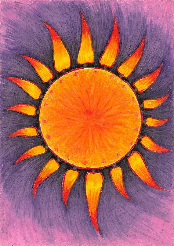 "Original Drawing - Abstract Pastel Sun - 8.5x12"" up to 24x34"" Art Print, Wall Decor, Illustration"