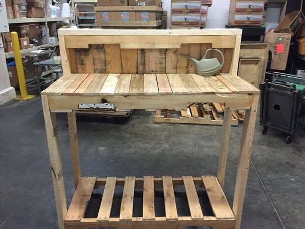 Here is another beautiful and small work bench which is made from the retired wood pallets and crafted in such a nice way that fulfills the needs of the people who work and like to keep their important accessories at one place rather than having to find them all the time here and there.