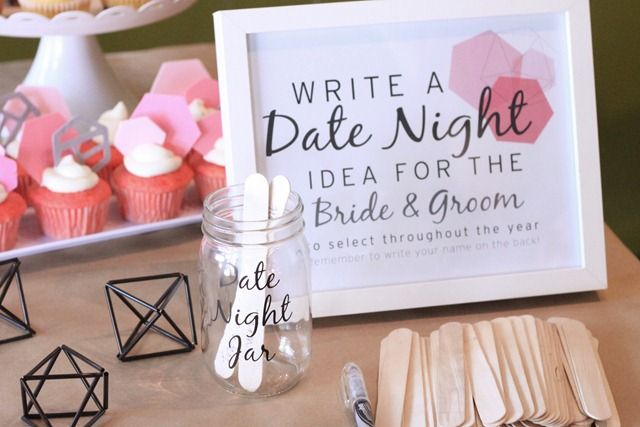 Modern Geometric Bridal Shower - Date Night Idea Jar